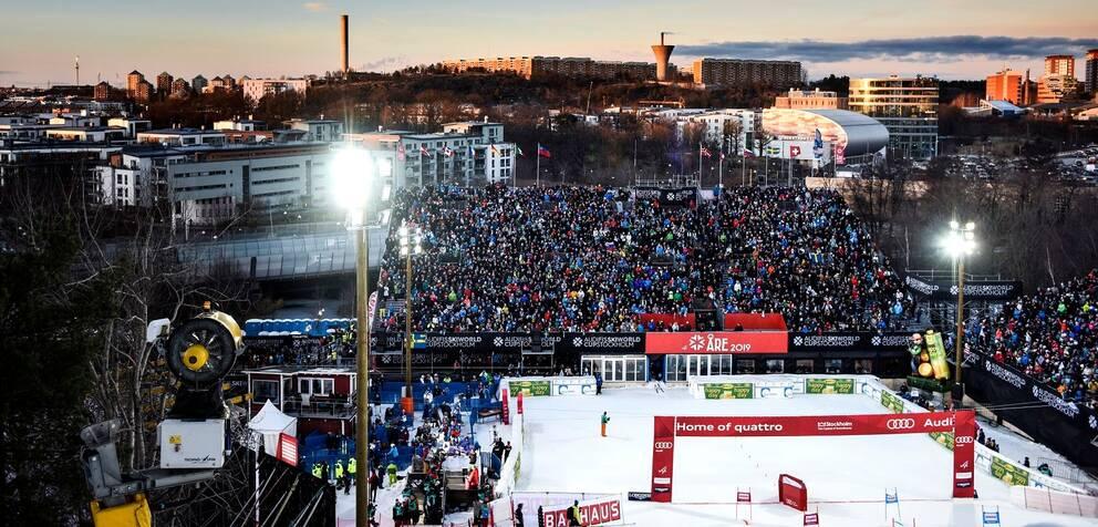 Alpin världscuptävling i parallellslalom i Hammarbybacken 2016.