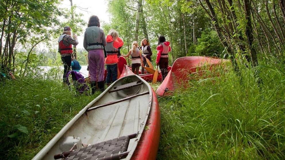 kollo, kajak, kanot, flytväst, gräs