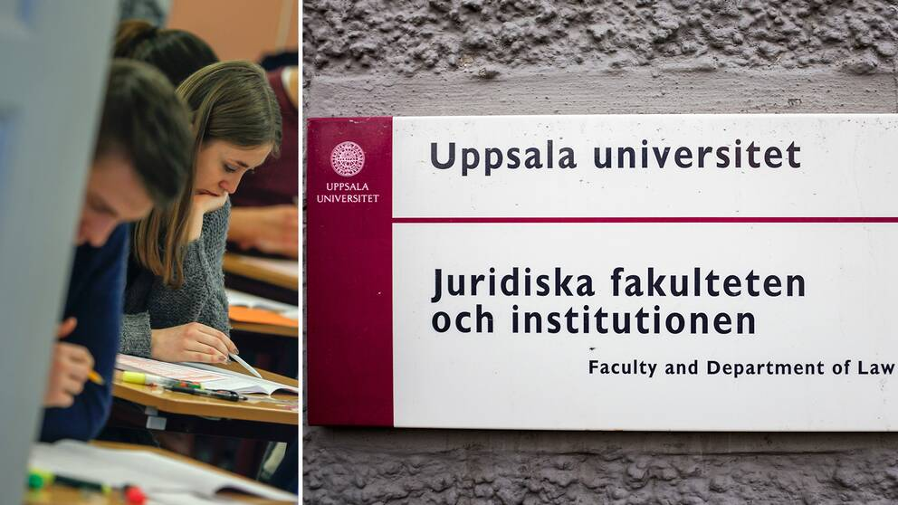 fotomontage. till vänster studenter som skriver ett prov. till höger en bild på juridiska fakulteten i Uppsala.