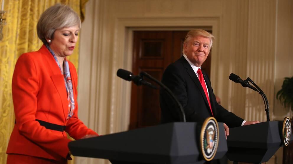 Brittiske premiärministern Theresa May under den gemensamma presskonferensen med USA:s president Donald Trump