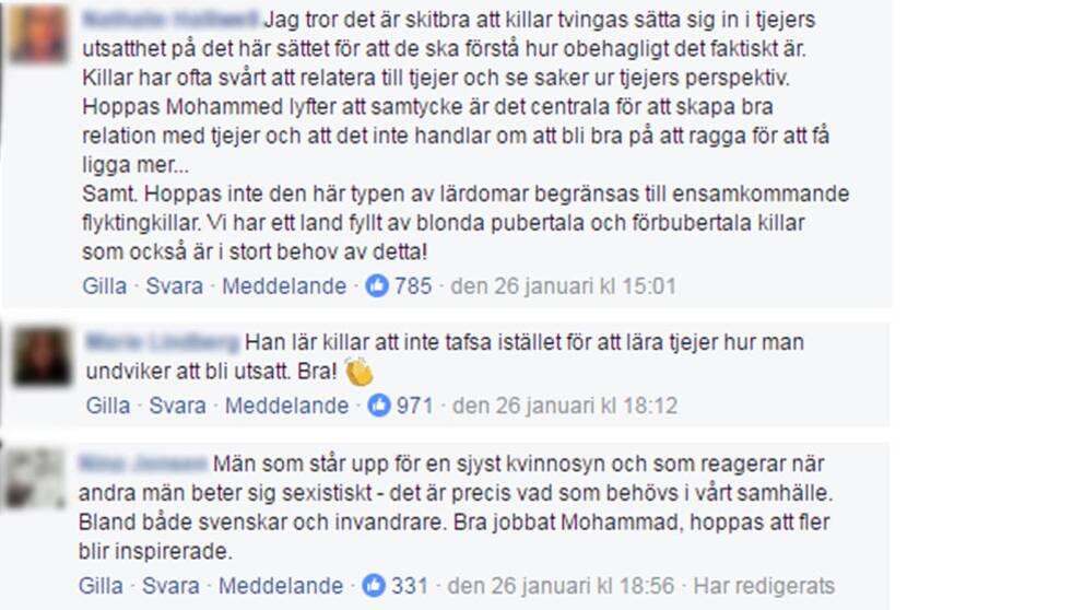 Kommentarer i sociala medier efter artikeln om att Mohammed lär ensamkommande att ragga.