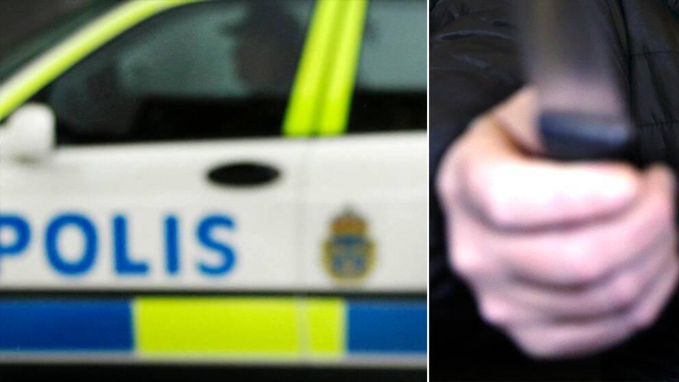 Polisbil och kniv