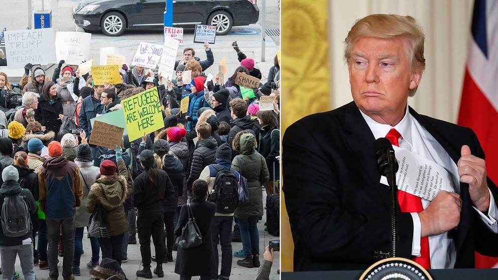 Ett antal personer har samlats utanför New York-flygplatsen JFK för att protestera mot flyktingstoppet.