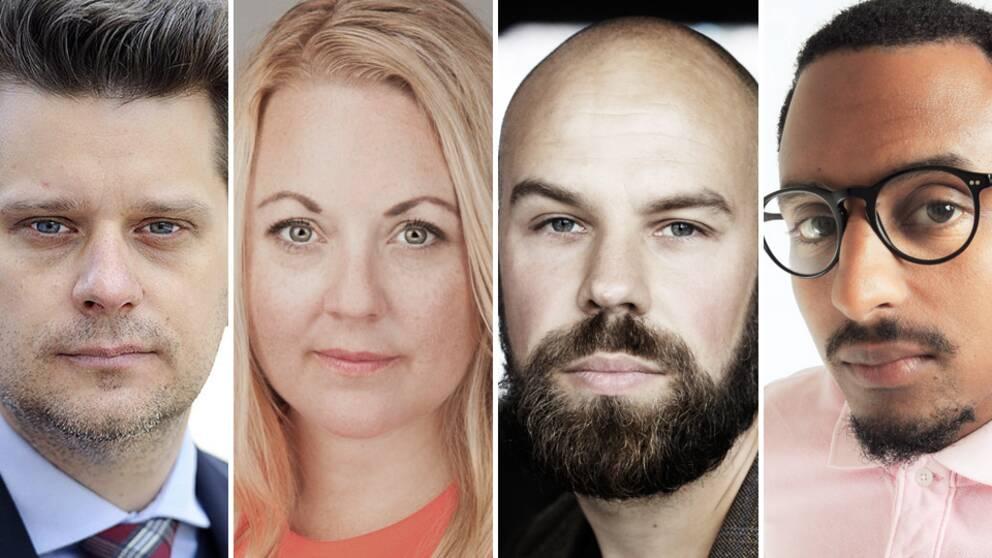 Marcus Birro, Rebecca Weidmo Uvell, Daniel Suhonen och Araia Ghirmai Sebhatu.