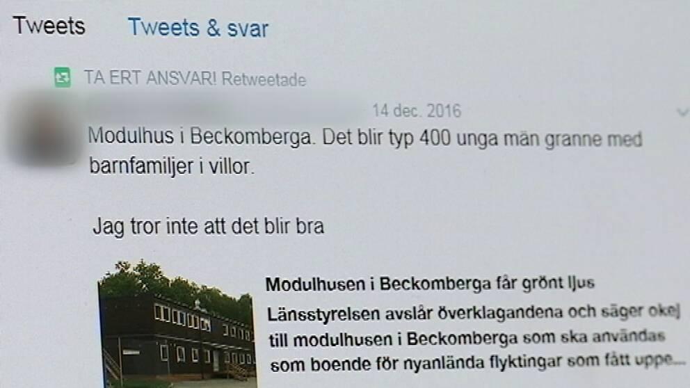 Tweet från gruppen som är emot modulbygget i Beckomberga