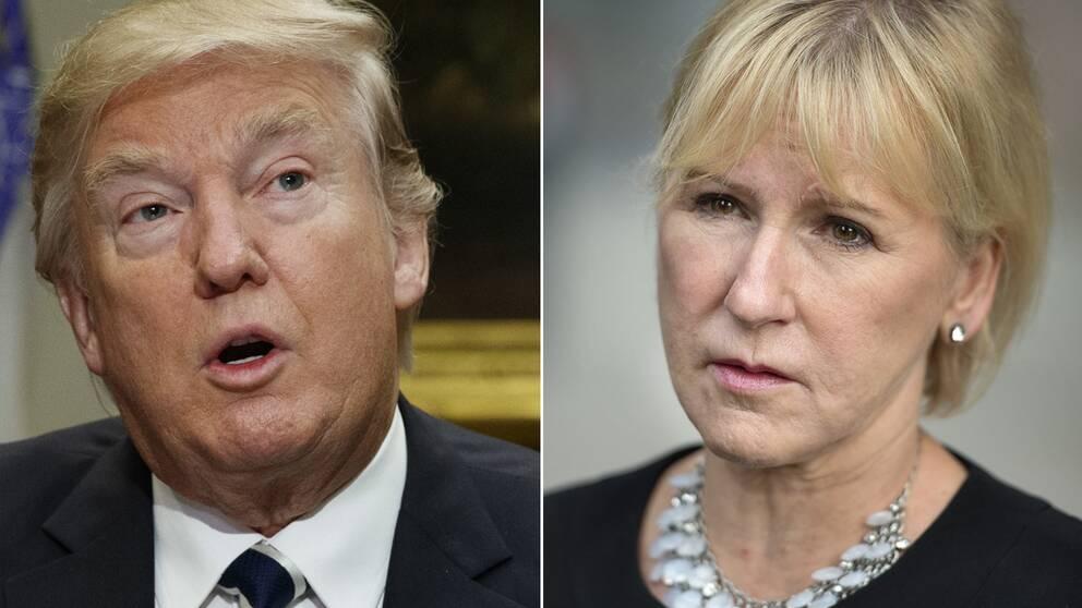 USA:s president Donald Trump och Sveriges utrikesminister Margot Wallström (S)