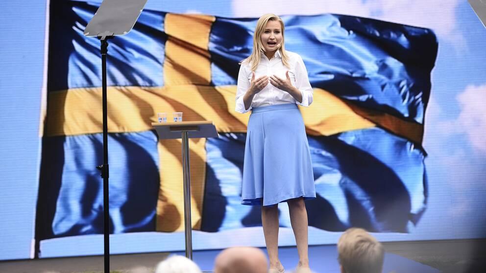 Partiledaren Ebba Busch Thor i Almedalen förra året.