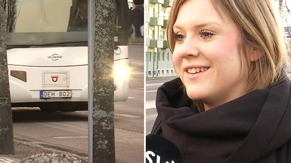 Kollage med buss och Matilda Borg.