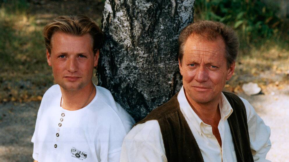 Skådespelaren Matti Berenett med sin far Lars-Erik Berenett i Stockholm 14:e augusti 1996