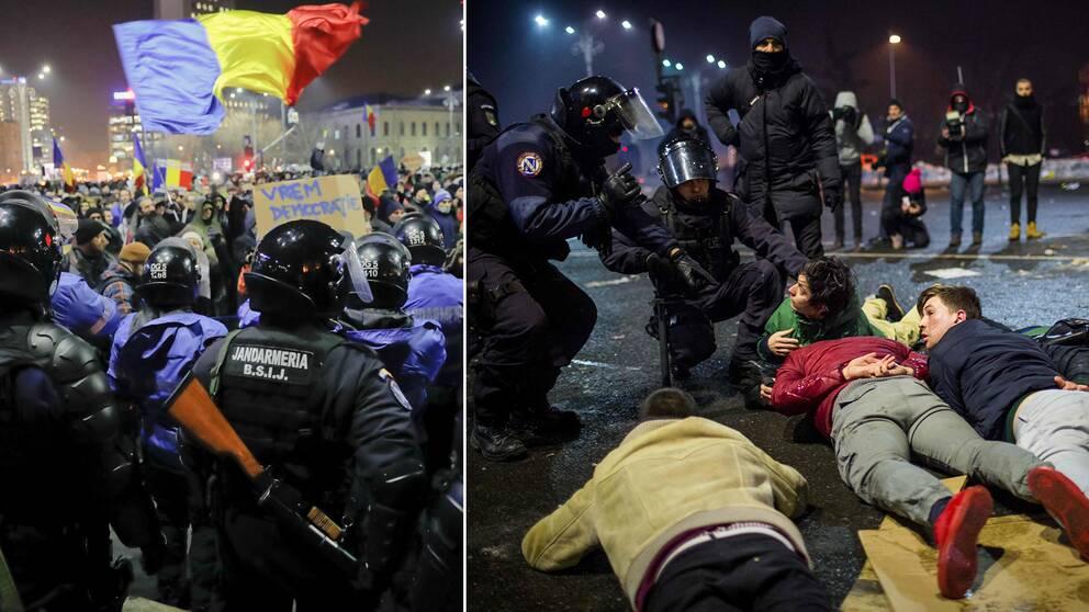 Rumänsk kravallpolis sattes in, bland annat i huvudstaden Bukarest, i samband med de omfattande protesterna.