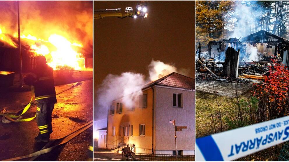 Bränder i asylboenden i Likenäs, Uppsala och Sigtuna.