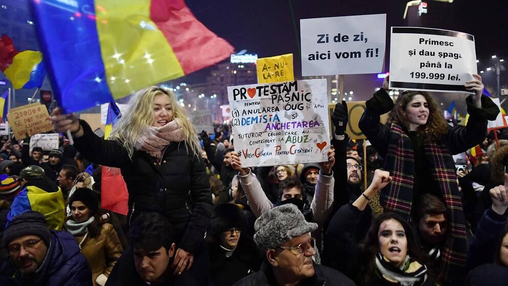 Protester i Rumänien.