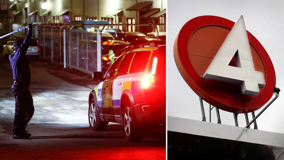 Polisavspärrningarna i Angered. TV4:s logotyp.