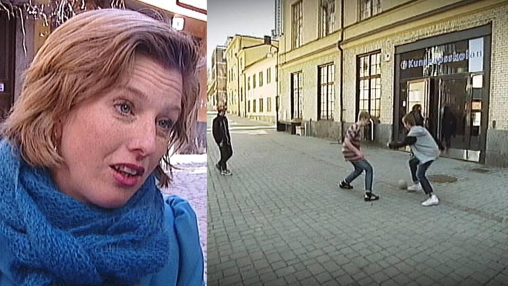 Ulrika Åkerlund, Boverket, och elever från Kunskapsskolan i Norrköping som spelar boll på sin obefintliga skolgård.