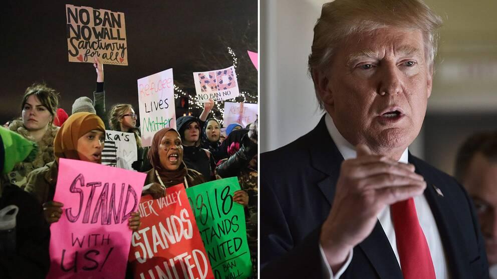 Demonstranter i Washington mot inreseförbudet, samt USA:s president Donald Trump.