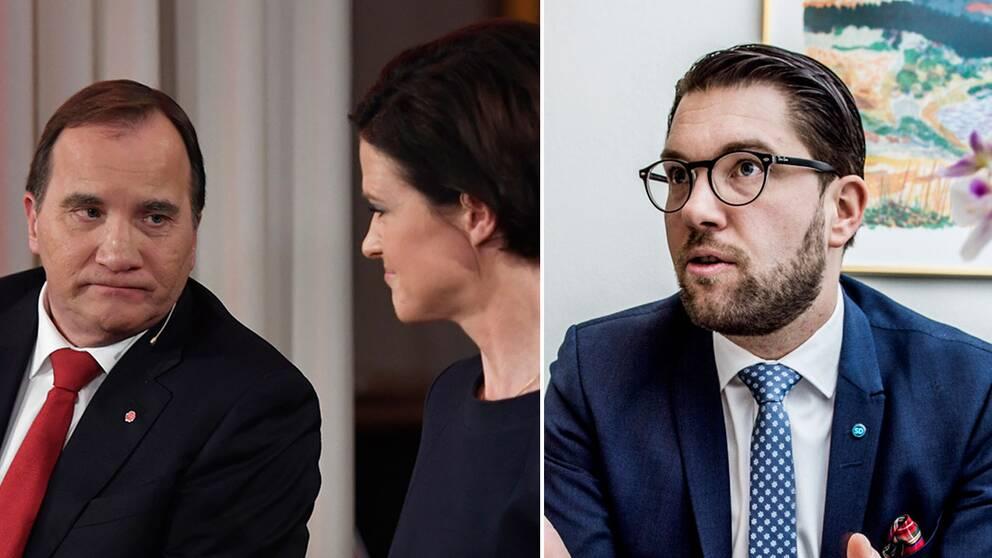 Stefan Löfven (S), Anna Kinberg Batra (M) och Jimmie Åkesson (SD).