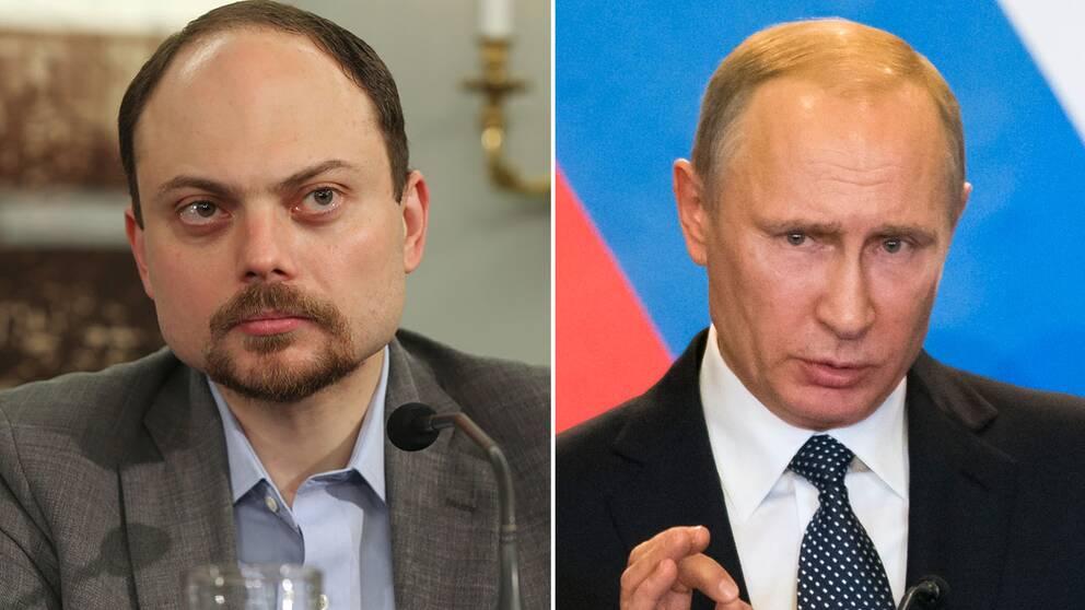 Regimkritikern Vladimir Kara-Murza och Rysslands president Valdimir Putin.