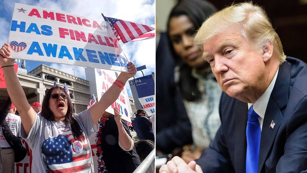 Demonstrationer har fortsatt att hållas både för och emot inreseförbudet på flera håll i USA