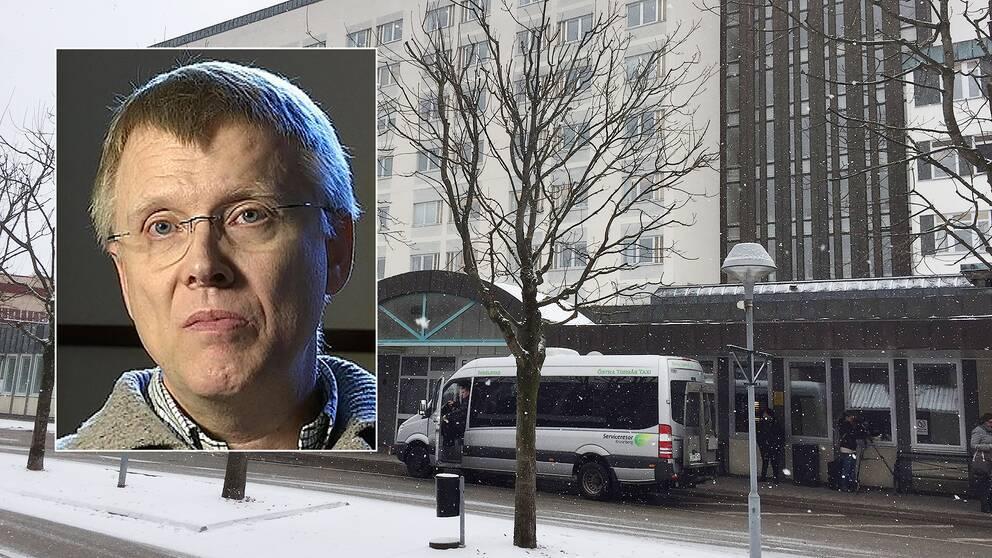 Person infälld. Sjukhuset i Växjö.
