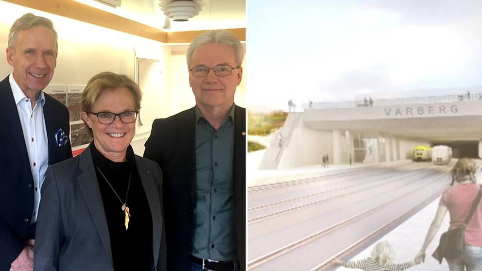 Dag Hultefors (M), Region Halland, Ann-Charlotte Stenkil (M) kommunråd Varberg, och Bengt Rydhed stf regiondirektör Trafikverket Väst.