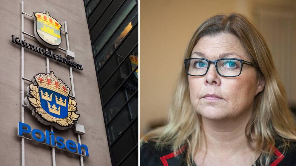 fotomontage, till vänster skylt på polisen till höger porträtt på Anna Ramsten.