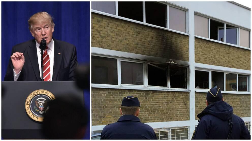 Trump anklagar medier för att låta bli att skriva om attacker utförda av radikala jihadister, och tar upp en brand på Norra grängesbergsgatan i Malmö som exempel.