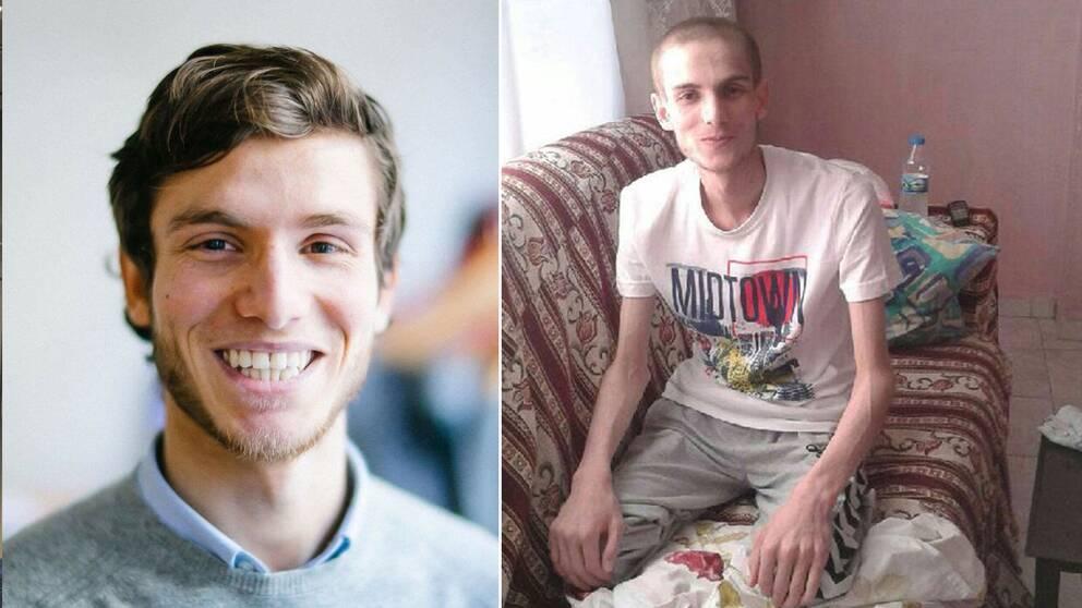 Omar vägde bara 35 kilo när han släpptes ur Saydnayafängelset (bilden till höger), där han utsattes för omfattande tortyr.