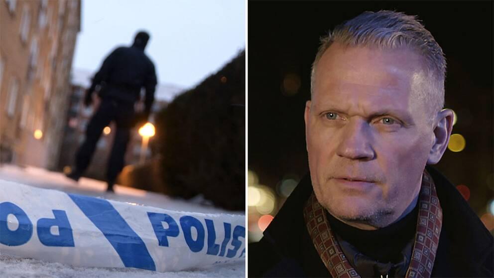 Bild från senaste skjutningen i Malmö och polischefen Bo Lundqvist.