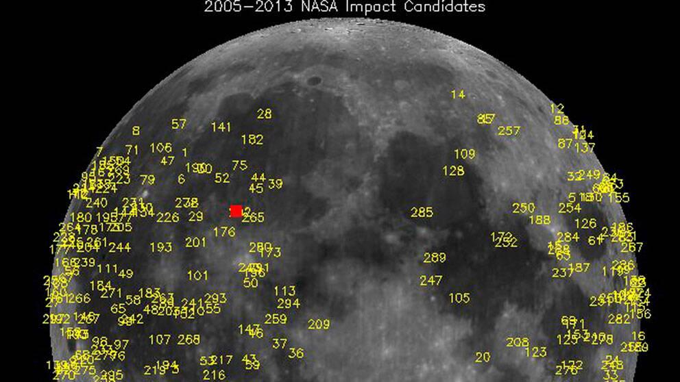 Meteoritnedslag på månen registrerade av NASA. Den röda fyrkanten markerar var 40-kilosstenen slog ned.