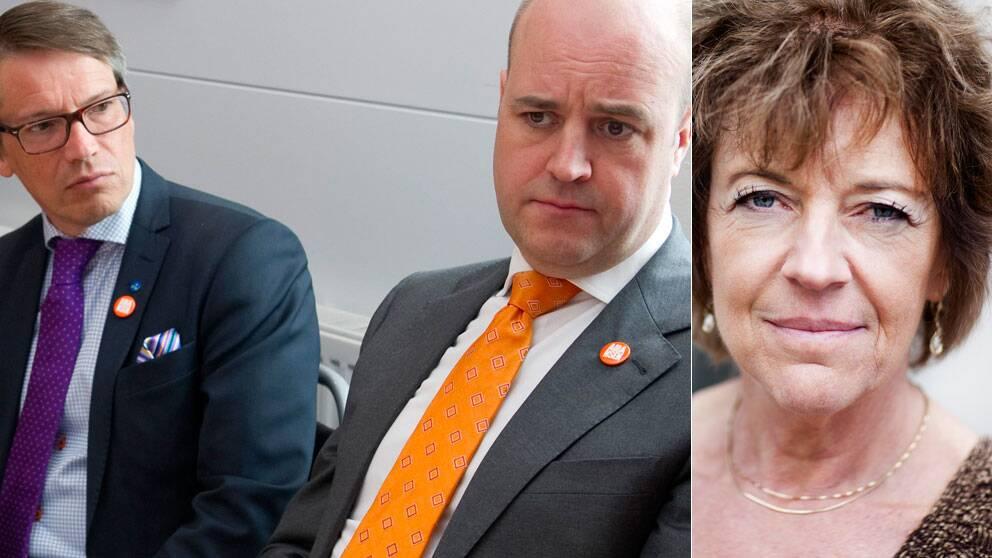 Göran Hägglund (KD), Fredrik Reinfeldt (M) och SVT:s inrikespolitiska kommentator Margit Silberstein. Scanpix/SVT
