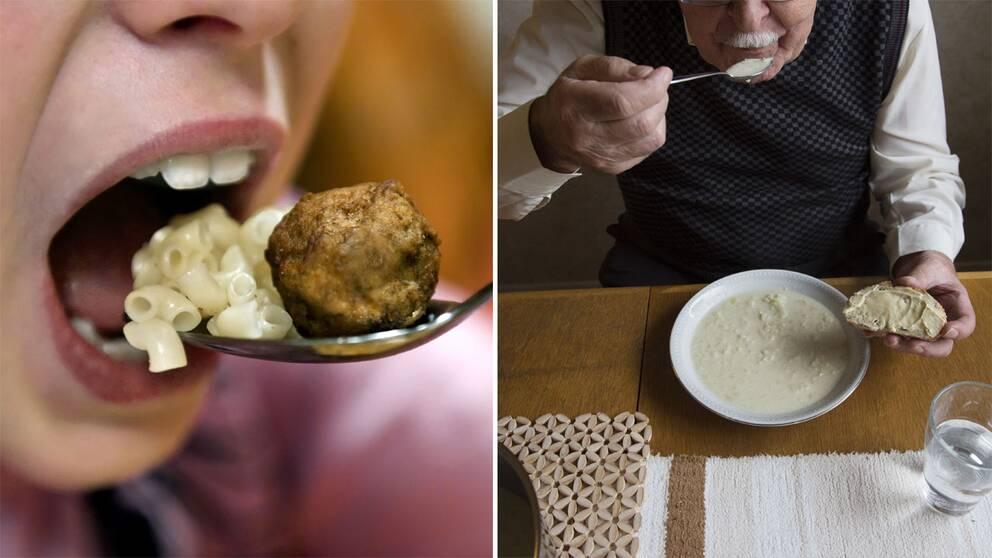 Ett barn som äter och en äldre man som äter.