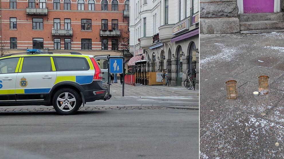 Polisbil och mordplats på Möllevångstorget.