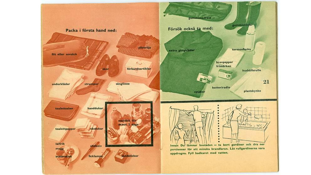 """Två sidor från skriften """"om kriget kommer"""" som delades ut till svenska hushåll under kalla kriget."""