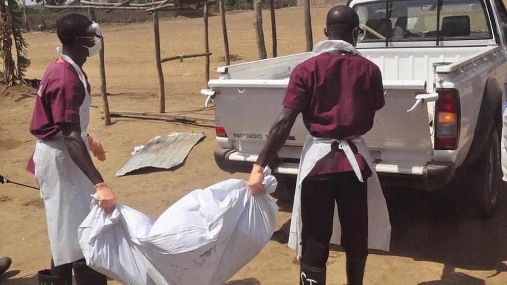 Sjukvårdspersonal tar hand om kroppen efter en person som dött av ebola
