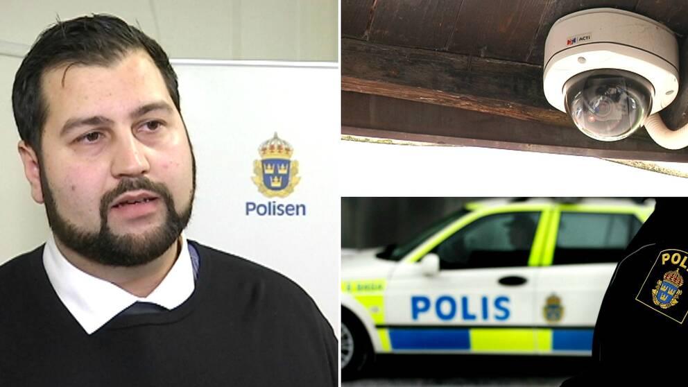 Övervakningskamer, polisbil och Joakim Söderström