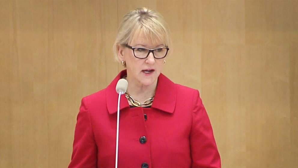 Utrikesminister Margot Wallström (S) i riksdagen under onsdagen.