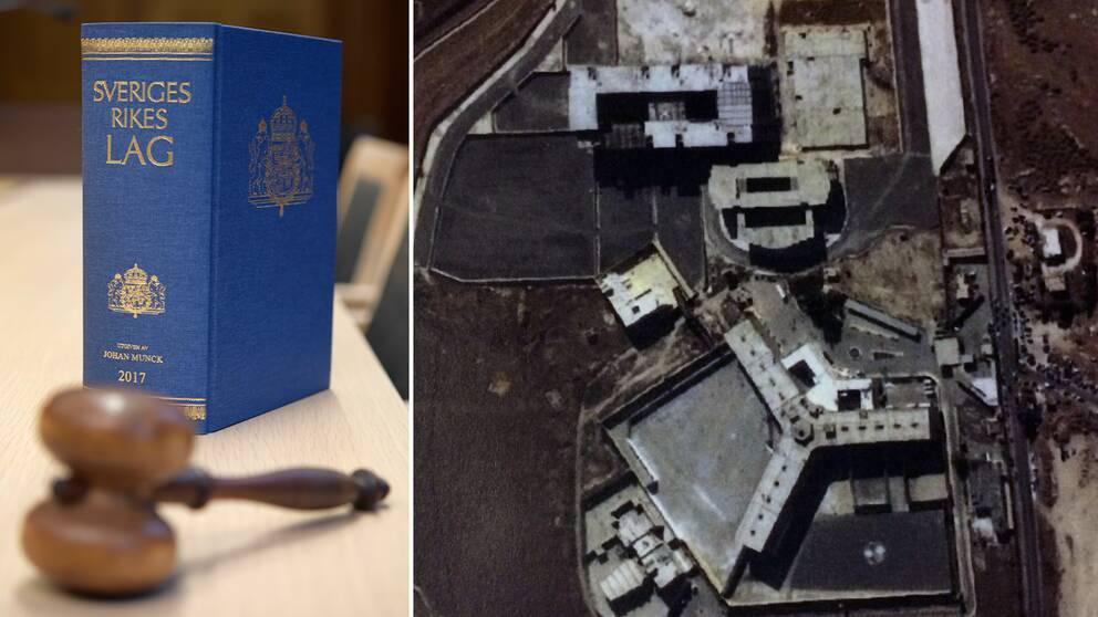 Flygbild över fängelset i Aleppo, Syrien, där en mur skulle sprängas.