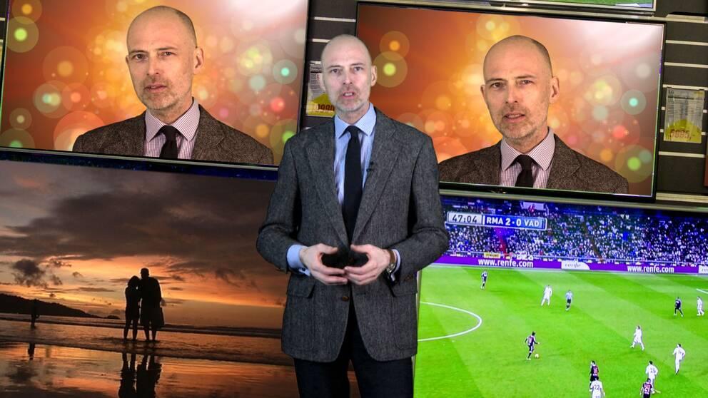 Knut Kainz Rognerud, SVT:s reporter, framför tv-skärmar och en strand.