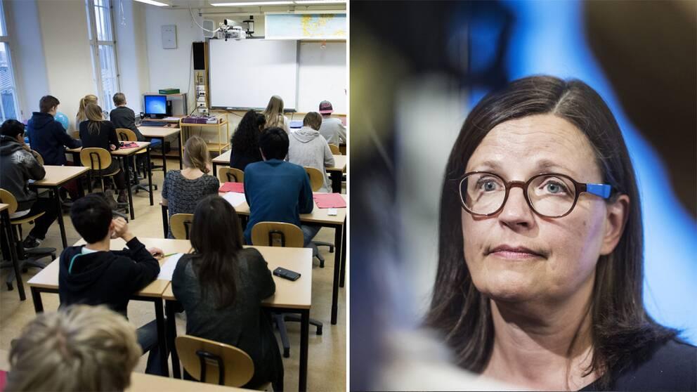 Klassrum och ministern Anna Ekström.