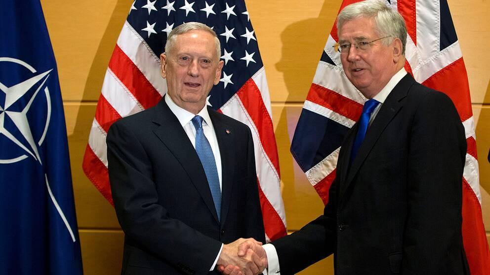 USA:s försvarsminister James Mattis (TV) tillsammans med sin brittiske kollega Michael Fallon.
