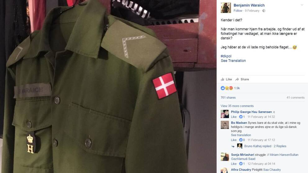 """Soldaten Benjamin Waraich ses inte längre som """"dansk"""" av folketinget på grund av sitt pakistanska påbrå."""