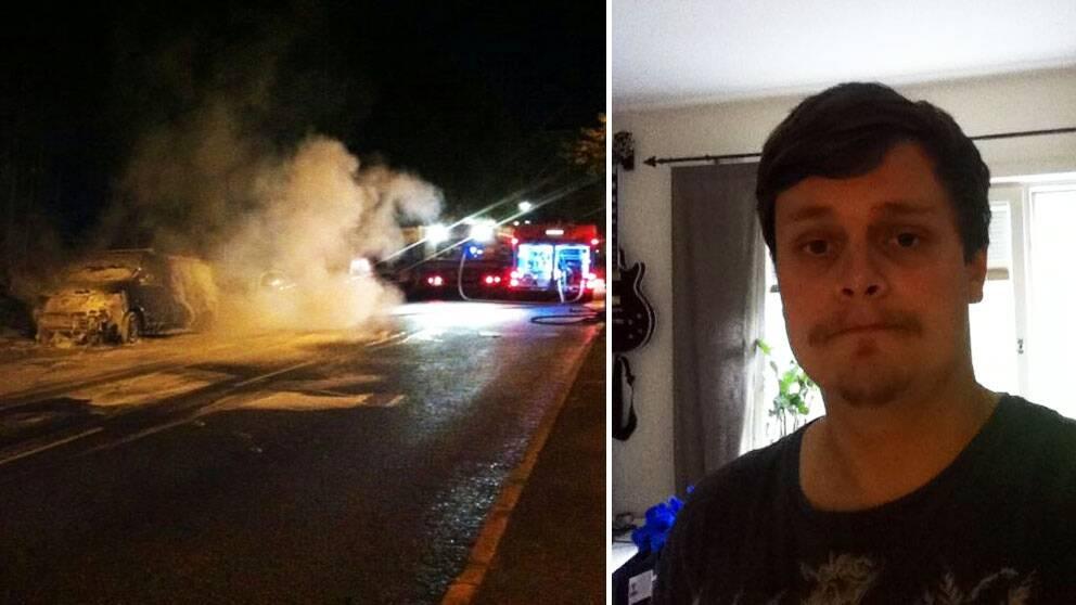Sebastian Ohlson fick ta ledigt från jobbet efter nattens brand.