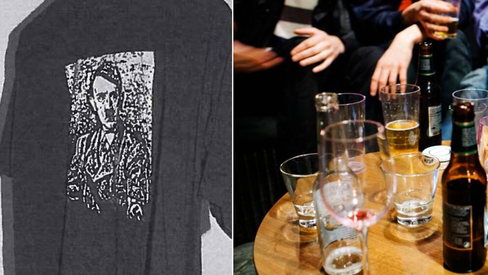 På t-tröjans framsida fanns en bild på Adolf Hitler (vänster).