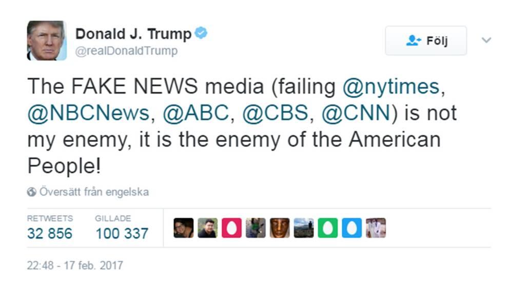Trump attackerar medierna i ny tweet.