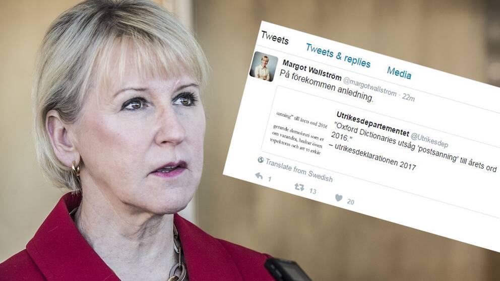 Margot Wallström tweetade ett mystiskt meddelande efter Trumps omtalade tal.