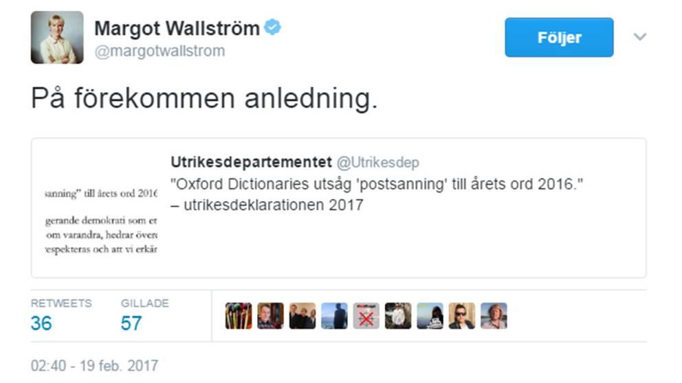 Wallströms tweet