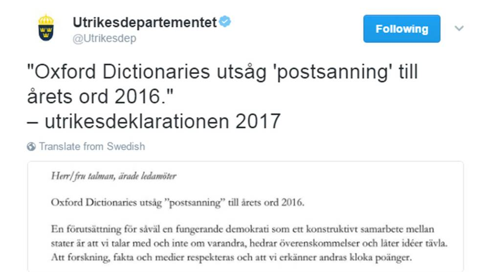 Utrikesdepartementets tweet