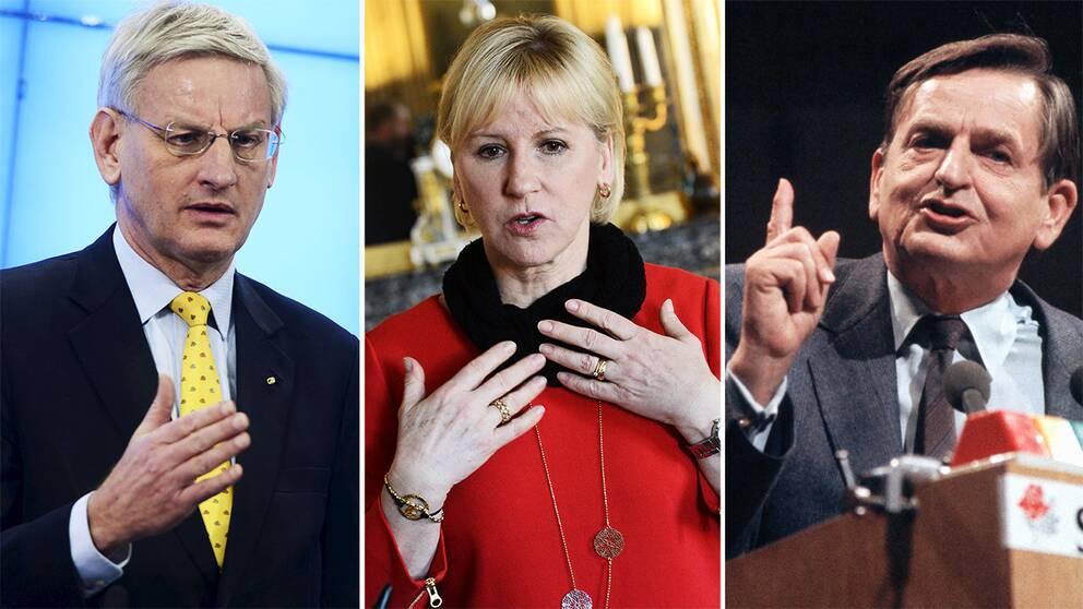 Carl Bildt, Margot Wallström och Olof Palme