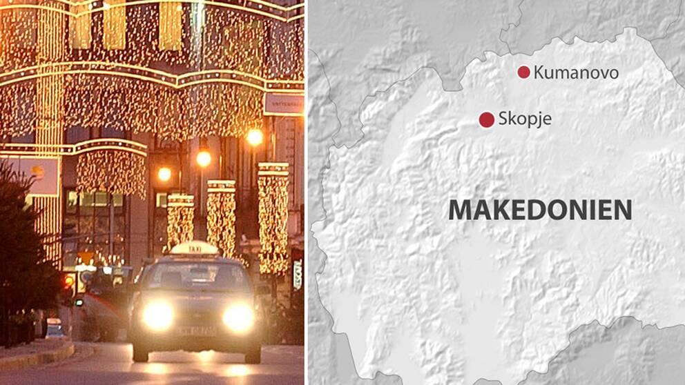 Julbelysning. Karta över Makedonien där Kumanovo är markerat.