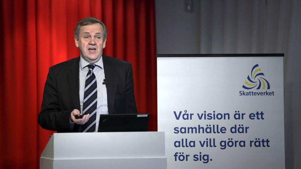 Skatteverkets generaldirektör Ingmar Hansson under Skatteverkets årliga pressträff om större kontrollinsatster